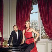 Interior design, Trousers, Textile, Red, Coat, Curtain, Formal wear, Window treatment, Dress, Interior design,