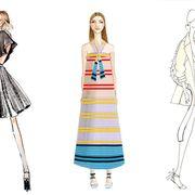 Sleeve, Shoulder, Standing, Pattern, Joint, Fashion illustration, Line, Formal wear, Style, Costume design,
