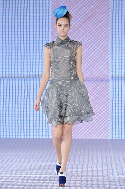 Clothing, Blue, Shoulder, Textile, Joint, Dress, Fashion show, Pattern, Style, Fashion accessory,