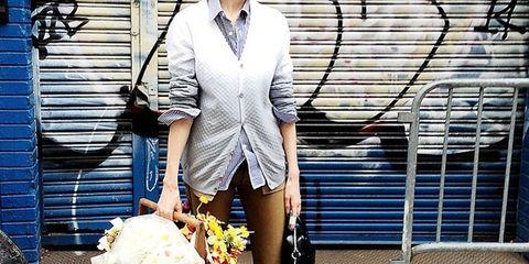 Glasses, Outerwear, Collar, Style, Street fashion, Bag, Fashion accessory, Blazer, Electric blue, Graffiti,
