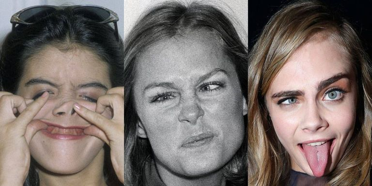 supermodels making funny faces - kate moss, gisele bundchen, and