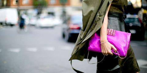 Bag, Magenta, Street fashion, Luggage and bags, Purple, Street, Snapshot, Shoulder bag, Handbag, Pocket,