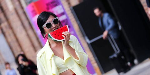Eyewear, Vision care, Goggles, Sunglasses, Magenta, Street fashion, Costume accessory, Fashion, Costume design, Costume,