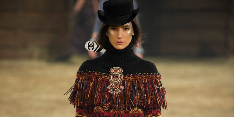 When Chanel Does A Take On The Bolo Tie You Know Western Look Is Officially Trending Say Hi Yo To Fringe Ruffles And Over Knee Cowboy Boots