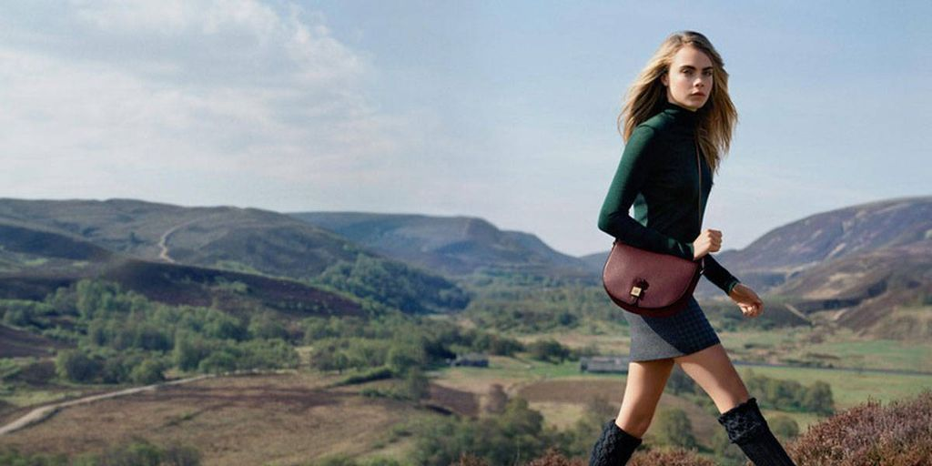 Cara Delevingne Frolics in the Highlands and Plays with Puppies in Mulberry Campaign