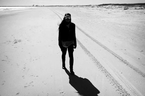 Winter, Monochrome, Shadow, Boot, Sand, Beach, Freezing,