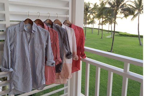 Textile, Clothes hanger, Dress shirt, Pattern, Arecales, Shade, Palm tree, Porch, Shelf, Linens,