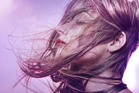 Hairstyle, Purple, Violet, Organ, Magenta, Long hair, Brown hair, Lavender, Earrings, Step cutting,