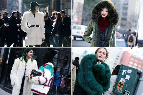 Winter, Sleeve, Textile, Photograph, Street fashion, Fur clothing, Natural material, Headgear, Collage, Animal product,