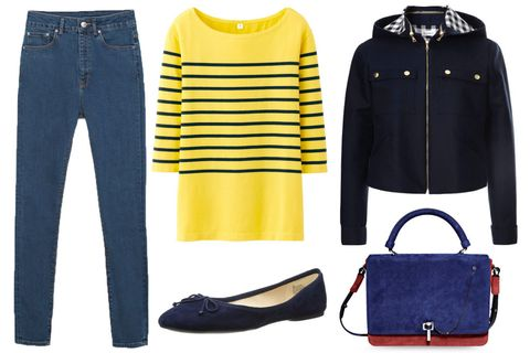 Blue, Product, Yellow, Sleeve, Textile, White, Denim, Style, Collar, Electric blue,