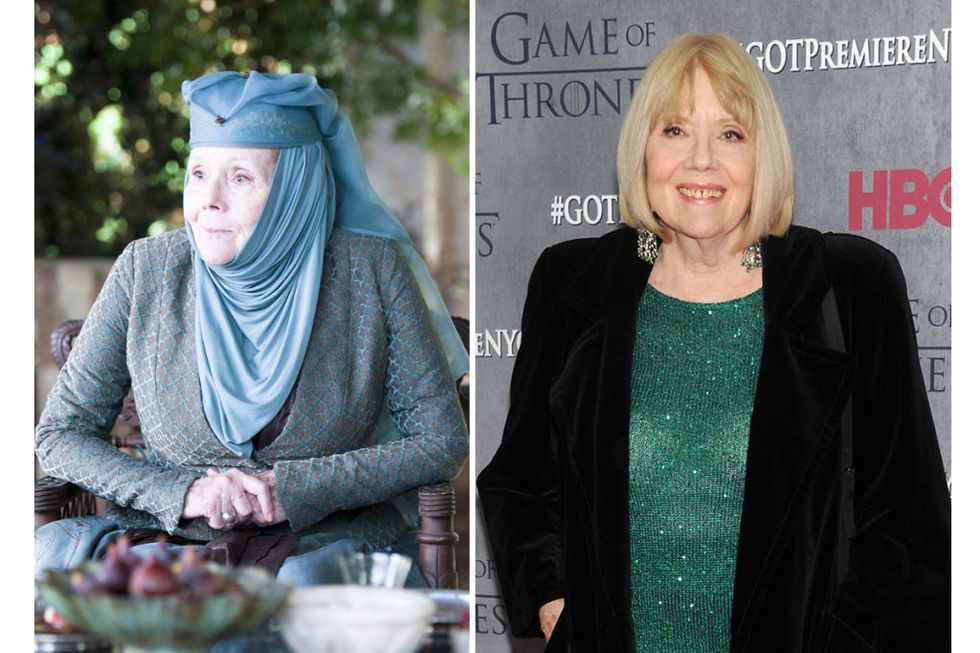Olenna Tyrell (Diana Rigg) Transformation : 4, only because we never actually see Olenna's hair, just those weird tenty scarf things.