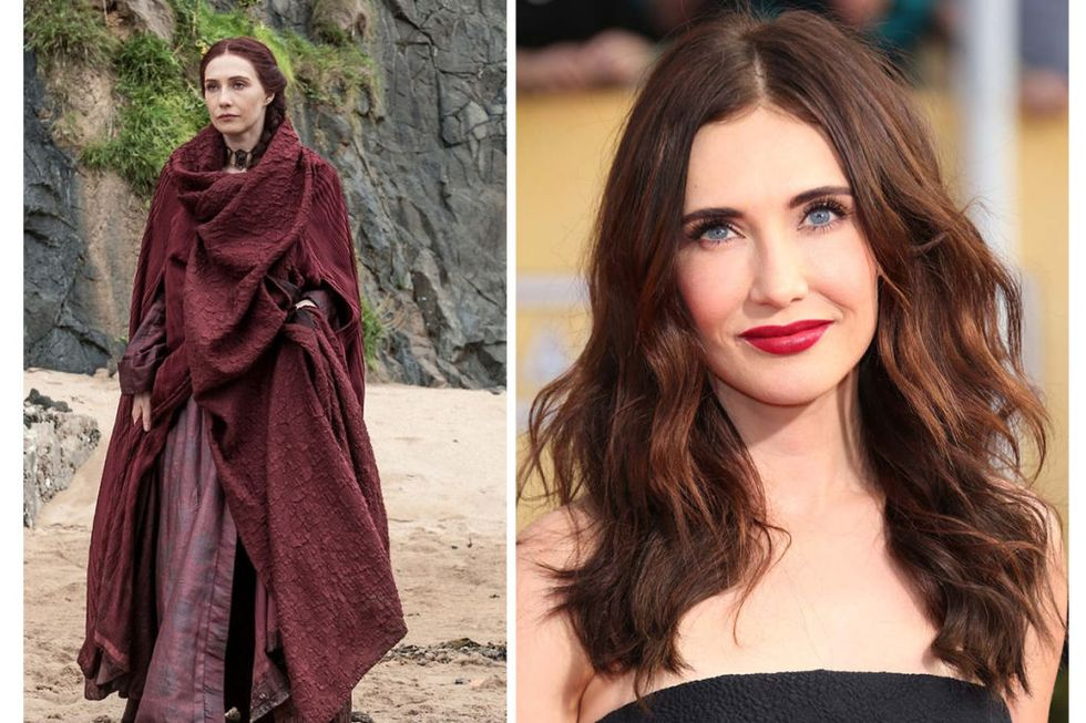 Melisandre (Carice van Houten) Transformation : 8, because if Melisandre were THIS gorgeous on the show, it would be too distracting.