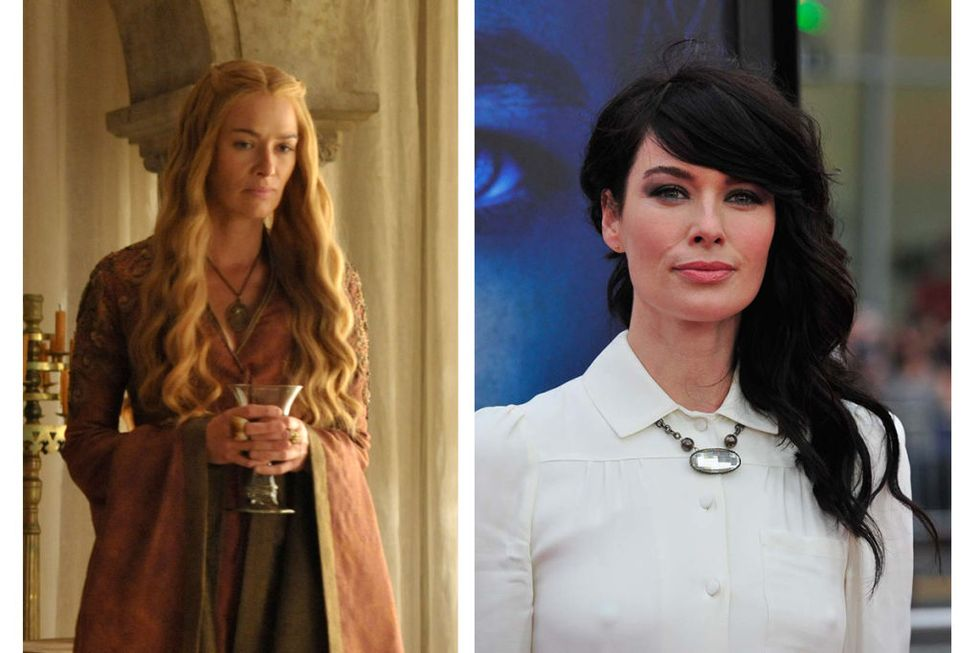 Cersei Lannister (Lena Headey) Transformation on a 1 to 10 scale, 10 being the most drastic : 9. Cersei's got the looks of a sweet fairy tale princess and the heart of a frozen b*tch; Lena, with her jet black hair, avant-garde hairstyles, and bicep tattoo, looks like one tough lady...but is probably a very nice woman, obviously.