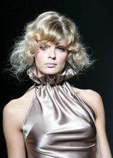 Clothing, Hairstyle, Dress, Style, Fashion model, Beauty, Fashion, Bangs, Blond, Day dress,