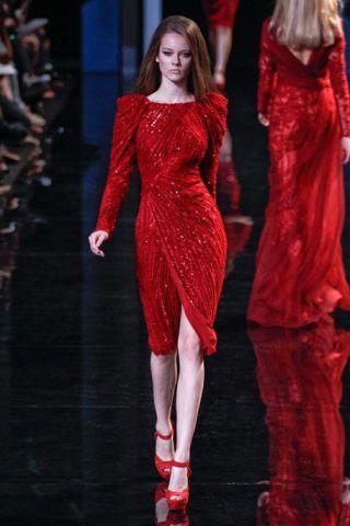 Sleeve, Red, Fashion show, Dress, Fashion model, Formal wear, Style, One-piece garment, Waist, Runway,