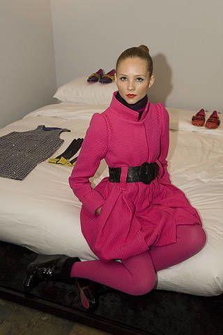 Room, Textile, Dress, Pink, Linens, Bed, Magenta, Sitting, Bedding, Bed sheet,