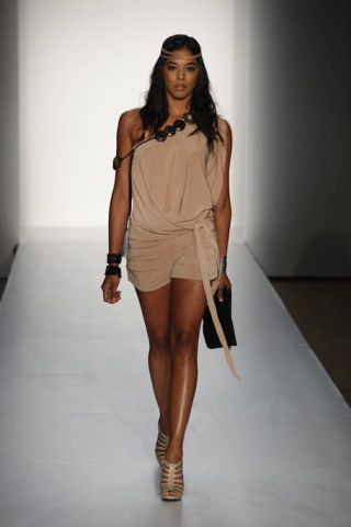 Clothing, Leg, Brown, Human leg, Fashion show, Shoulder, Joint, High heels, Fashion accessory, Style,