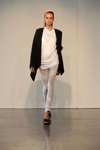 Leg, Sleeve, Shoulder, Fashion show, Joint, Standing, Floor, Outerwear, Style, Flooring,