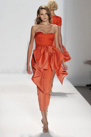 Hairstyle, Shoulder, Dress, Joint, Red, One-piece garment, Fashion show, Style, Fashion model, Gown,