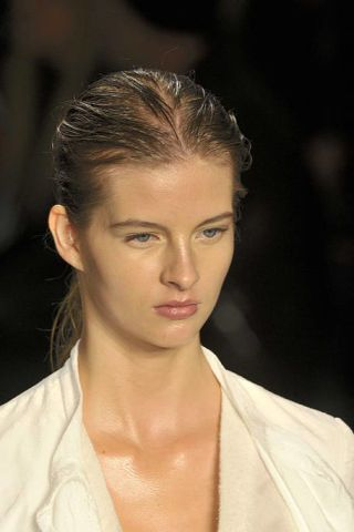 Ear, Lip, Cheek, Mouth, Hairstyle, Skin, Chin, Forehead, Shoulder, Eyebrow,