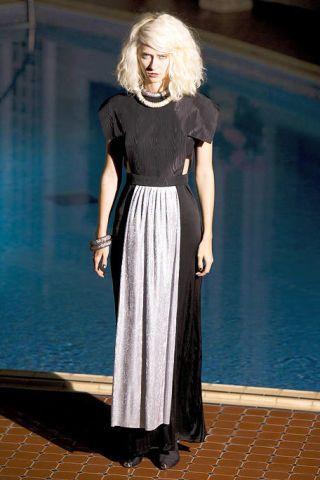 Clothing, Blue, Dress, Shoulder, Flooring, Joint, Floor, Formal wear, Style, Street fashion,