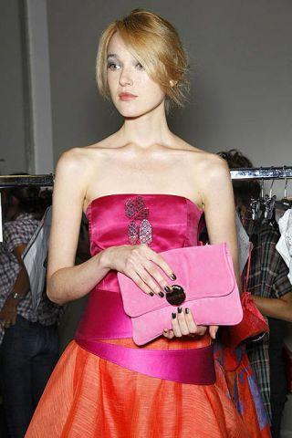 Hairstyle, Strapless dress, Shoulder, Red, Dress, Waist, Style, Fashion, Magenta, Bag,