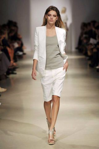 Clothing, Fashion show, Brown, Shoulder, Runway, Joint, Human leg, White, Fashion model, Style,