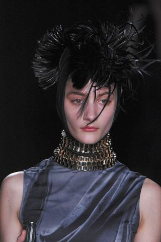 Nose, Hairstyle, Style, Headgear, Costume accessory, Fashion, Black hair, Art, Eyelash, Costume design,