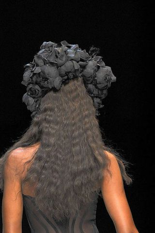 Style, Darkness, Hair accessory, Back, Artificial hair integrations, Long hair, Headpiece, Still life photography, Painting, Sleeveless shirt,