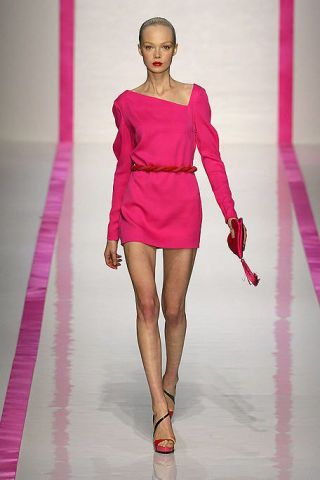 Leg, Human leg, Shoulder, Dress, Joint, Magenta, Pink, Fashion model, One-piece garment, Style,