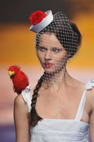 Hairstyle, Red, Style, Fashion accessory, Headgear, Costume accessory, Carmine, Fashion, Bridal accessory, Bird,