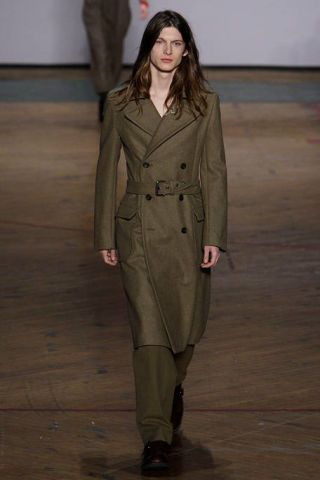 Brown, Sleeve, Collar, Joint, Standing, Coat, Formal wear, Khaki, Style, Fashion show,