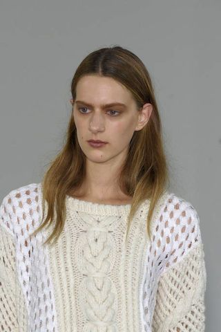 Lip, Cheek, Brown, Hairstyle, Sleeve, Forehead, Shoulder, Eyebrow, Textile, Photograph,