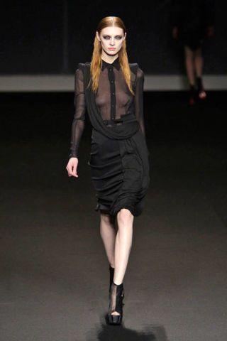 Clothing, Sleeve, Human leg, Human body, Dress, Shoulder, Joint, Fashion show, Style, Formal wear,