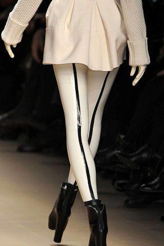 Human leg, Textile, Joint, White, Style, Fashion, Black, Knee, Costume design, Leather,