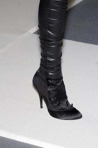 Boot, Leather, Fashion, Black, Knee-high boot, Fashion design, Synthetic rubber, Silver, High heels,