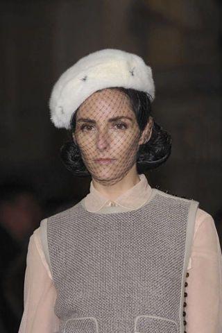 Clothing, White, Headgear, Fashion, Neck, Beige, Street fashion, Embellishment, Portrait, Lace,