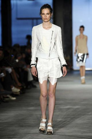 Clothing, Footwear, Leg, Fashion show, Human body, Shoulder, Joint, Outerwear, White, Human leg,