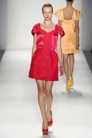 Clothing, Dress, Human leg, Shoulder, Fashion show, Joint, One-piece garment, Red, Fashion model, Style,
