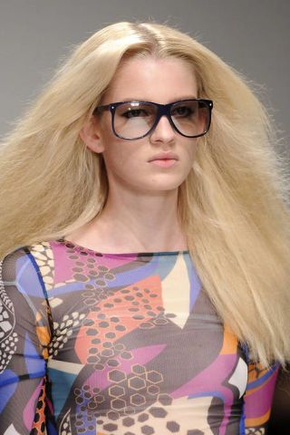 Clothing, Eyewear, Vision care, Glasses, Lip, Mouth, Hairstyle, Long hair, Blond, Beauty,