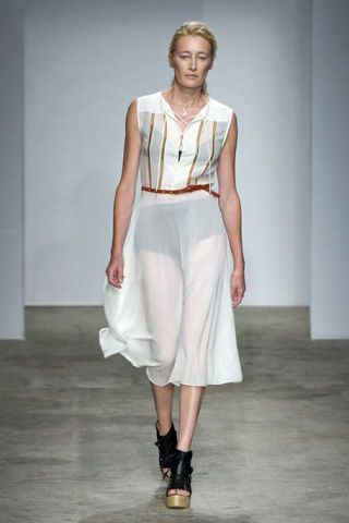 Clothing, Shoulder, Joint, Human leg, White, Style, Sandal, Fashion accessory, Floor, Fashion show,