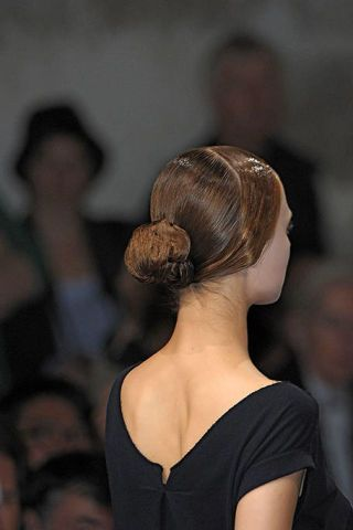 Hairstyle, Shoulder, Joint, Style, Headgear, Back, Fashion, Neck, Bridal accessory, Bun,