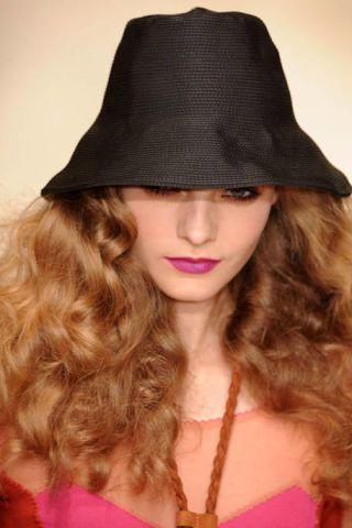Clothing, Lip, Brown, Hairstyle, Hat, Chin, Fashion accessory, Style, Headgear, Long hair,