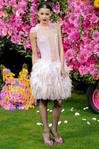 Clothing, Petal, Dress, Shoulder, Textile, Flower, Pink, Magenta, Style, Shrub,