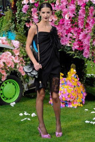 Dress, Petal, Flower, Human leg, Pink, Toe, Shrub, One-piece garment, Magenta, Foot,