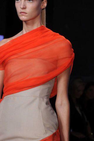 Lip, Chin, Shoulder, Red, Joint, Collar, Orange, Fashion model, Carmine, Fashion,