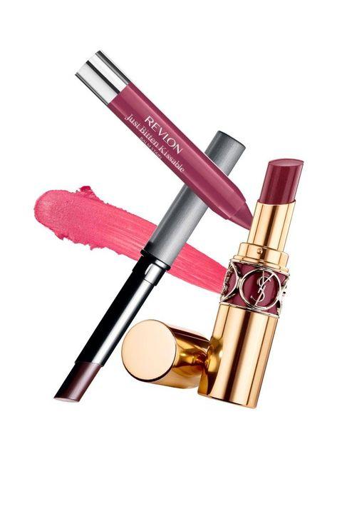 Brown, Lipstick, Pink, Magenta, Maroon, Beige, Peach, Material property, Cosmetics, Cylinder,