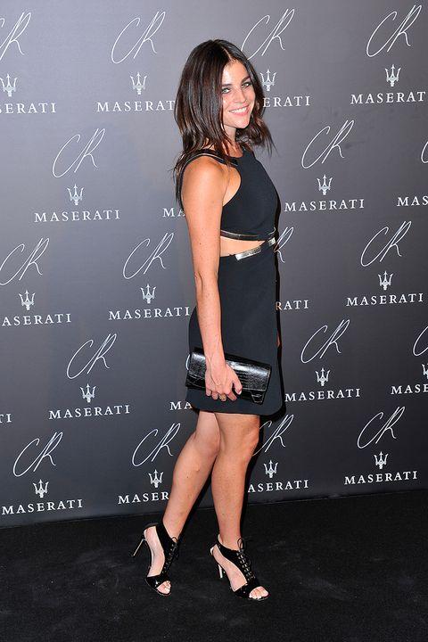Mouth, Dress, Human leg, Style, Little black dress, One-piece garment, Blackboard, Fashion, Black, Day dress,