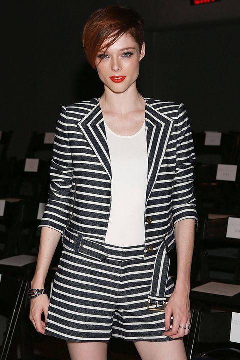 Lip, Sleeve, Shoulder, Fashion model, Style, Eyelash, Dress, Beauty, Fashion, Street fashion,