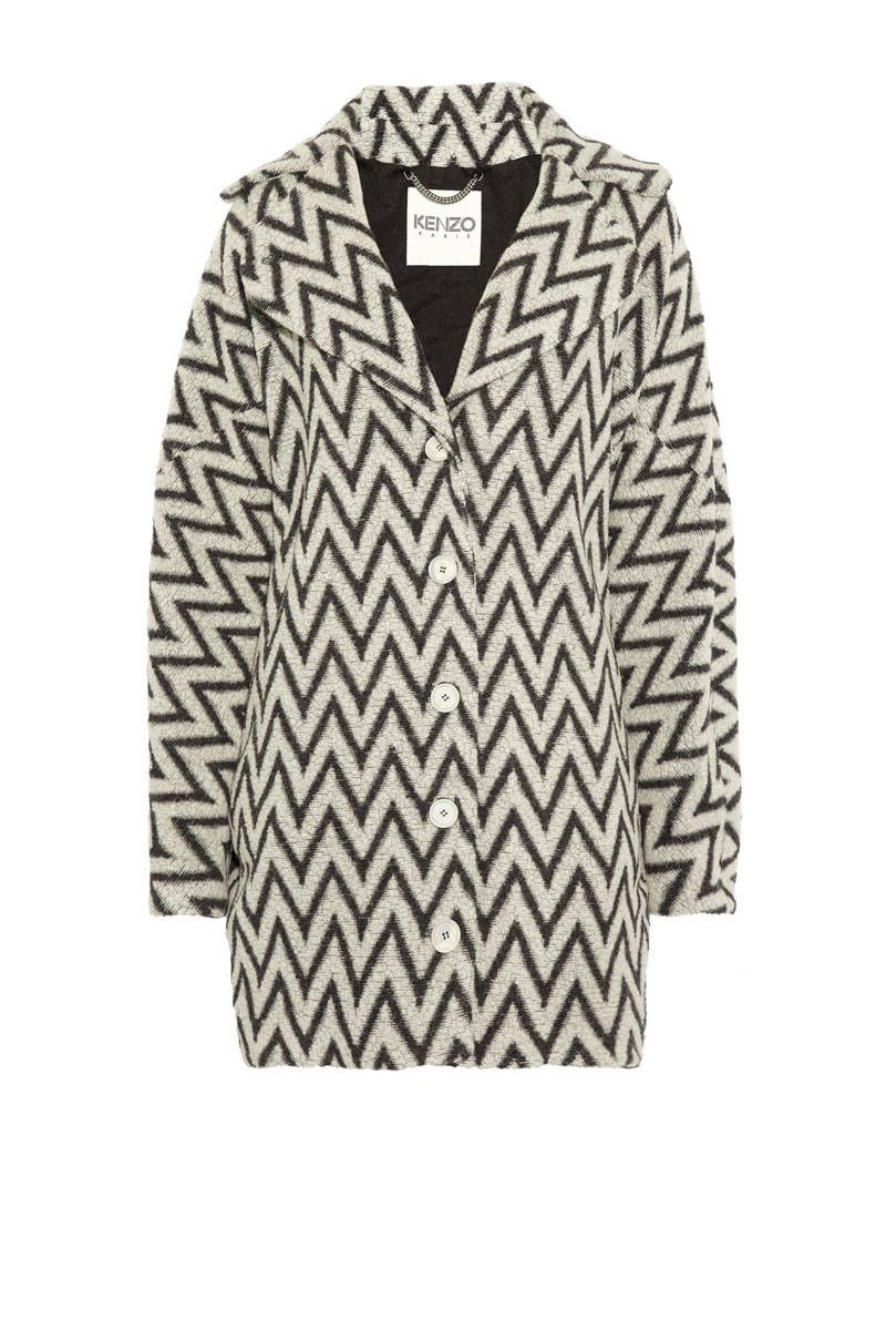 kenzo black white graphic coat